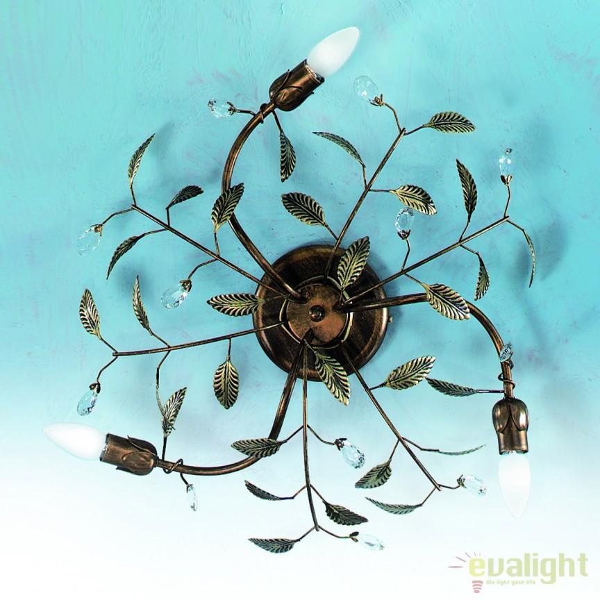 Plafoniera design rustic Flora DL 7-382/3 Antik OR, Plafoniere, Spots, Corpuri de iluminat, lustre, aplice, veioze, lampadare, plafoniere. Mobilier si decoratiuni, oglinzi, scaune, fotolii. Oferte speciale iluminat interior si exterior. Livram in toata tara.  a