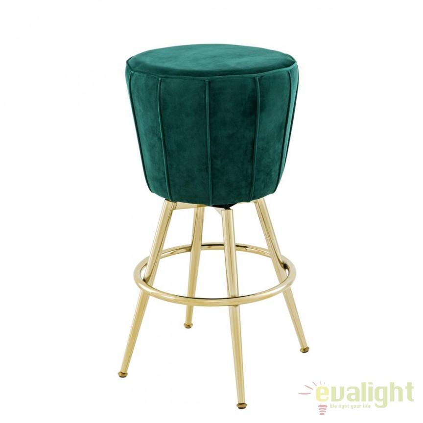 Scaun bar design LUX Bolton verde/ auriu 111536 HZ, Scaune de bar, Corpuri de iluminat, lustre, aplice, veioze, lampadare, plafoniere. Mobilier si decoratiuni, oglinzi, scaune, fotolii. Oferte speciale iluminat interior si exterior. Livram in toata tara.  a