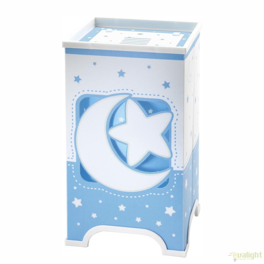 Veioza camera copii cu detalii ce stralucesc in intuneric, Moon Light albastru 63230T DB,  a