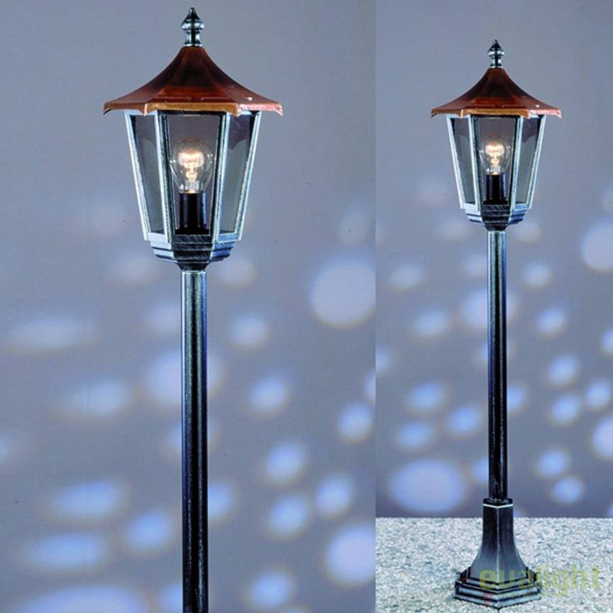 Stalp iluminat exterior stil clasic IP43 H116 Herminde AL 11K/82514/A schwarz-silber OR, ILUMINAT EXTERIOR, Corpuri de iluminat, lustre, aplice, veioze, lampadare, plafoniere. Mobilier si decoratiuni, oglinzi, scaune, fotolii. Oferte speciale iluminat interior si exterior. Livram in toata tara.  a