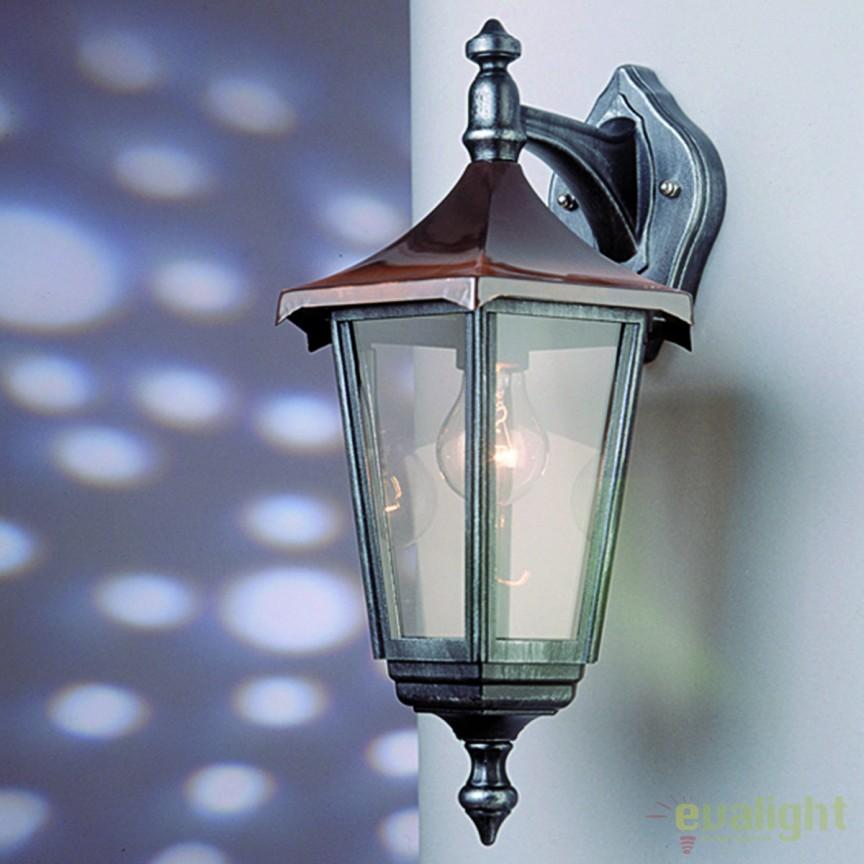 Aplica de perete exterior stil clasic IP43 Herminde AL 11K/82541/A schwarz-silber/abwarts OR, Aplice de exterior clasice, rustice, traditionale, Corpuri de iluminat, lustre, aplice, veioze, lampadare, plafoniere. Mobilier si decoratiuni, oglinzi, scaune, fotolii. Oferte speciale iluminat interior si exterior. Livram in toata tara.  a