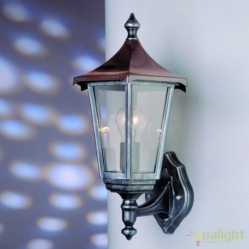 Aplica de perete exterior stil clasic IP43 Herminde AL 11K/82540/A schwarz-silber/aufwarts  OR, ILUMINAT EXTERIOR, Corpuri de iluminat, lustre, aplice, veioze, lampadare, plafoniere. Mobilier si decoratiuni, oglinzi, scaune, fotolii. Oferte speciale iluminat interior si exterior. Livram in toata tara.  a