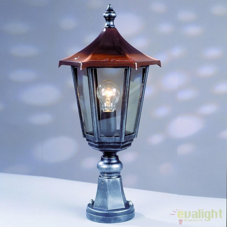 Stalp iluminat exterior stil clasic IP43 H52 Herminde AL 11K/82513/A schwarz-silber OR, ILUMINAT EXTERIOR, Corpuri de iluminat, lustre, aplice, veioze, lampadare, plafoniere. Mobilier si decoratiuni, oglinzi, scaune, fotolii. Oferte speciale iluminat interior si exterior. Livram in toata tara.  a