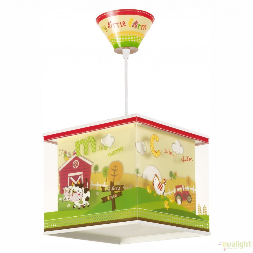Lustra camera copii cu imagini imprimate, My Little Farm 64402 DB, Outlet,  a