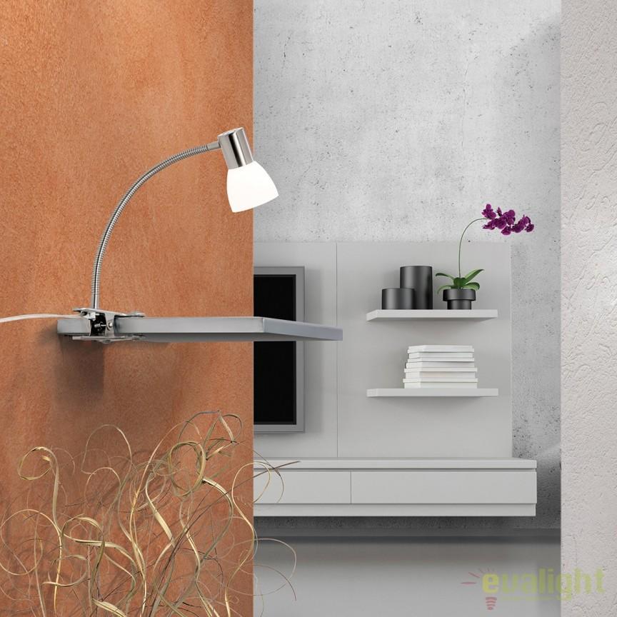 Lampa LED cu clips moderna Laura Str 10-456/1 satin OR, Veioze LED, Lampadare LED, Corpuri de iluminat, lustre, aplice, veioze, lampadare, plafoniere. Mobilier si decoratiuni, oglinzi, scaune, fotolii. Oferte speciale iluminat interior si exterior. Livram in toata tara.  a