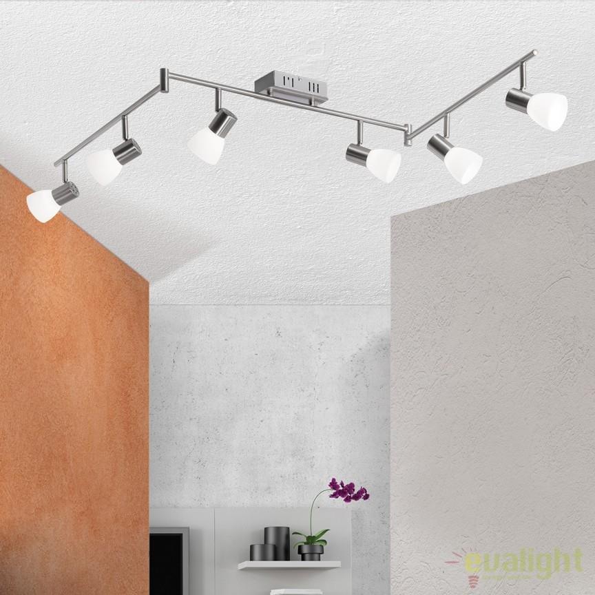 Lustra LED ajustabila cu 6 spoturi Laura Str 10-455/6 satin OR, Plafoniere LED, Spoturi LED, Corpuri de iluminat, lustre, aplice, veioze, lampadare, plafoniere. Mobilier si decoratiuni, oglinzi, scaune, fotolii. Oferte speciale iluminat interior si exterior. Livram in toata tara.  a