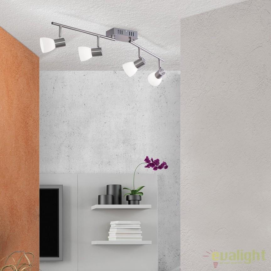 Lustra LED ajustabila cu 4 spoturi Laura Str 10-455/4 satin OR, Plafoniere LED, Spoturi LED, Corpuri de iluminat, lustre, aplice, veioze, lampadare, plafoniere. Mobilier si decoratiuni, oglinzi, scaune, fotolii. Oferte speciale iluminat interior si exterior. Livram in toata tara.  a