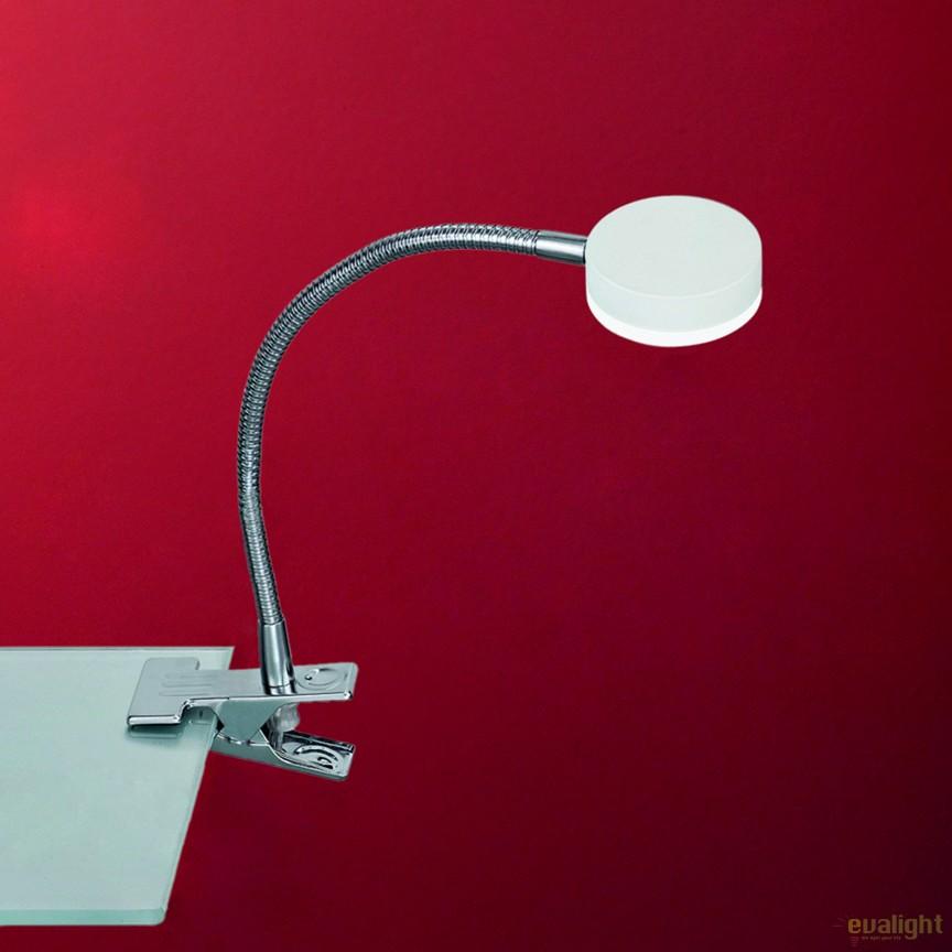 Lampa LED cu clips design modern Mira LA 4-1134/1 chrom/weiß OR, Veioze LED, Lampadare LED, Corpuri de iluminat, lustre, aplice, veioze, lampadare, plafoniere. Mobilier si decoratiuni, oglinzi, scaune, fotolii. Oferte speciale iluminat interior si exterior. Livram in toata tara.  a