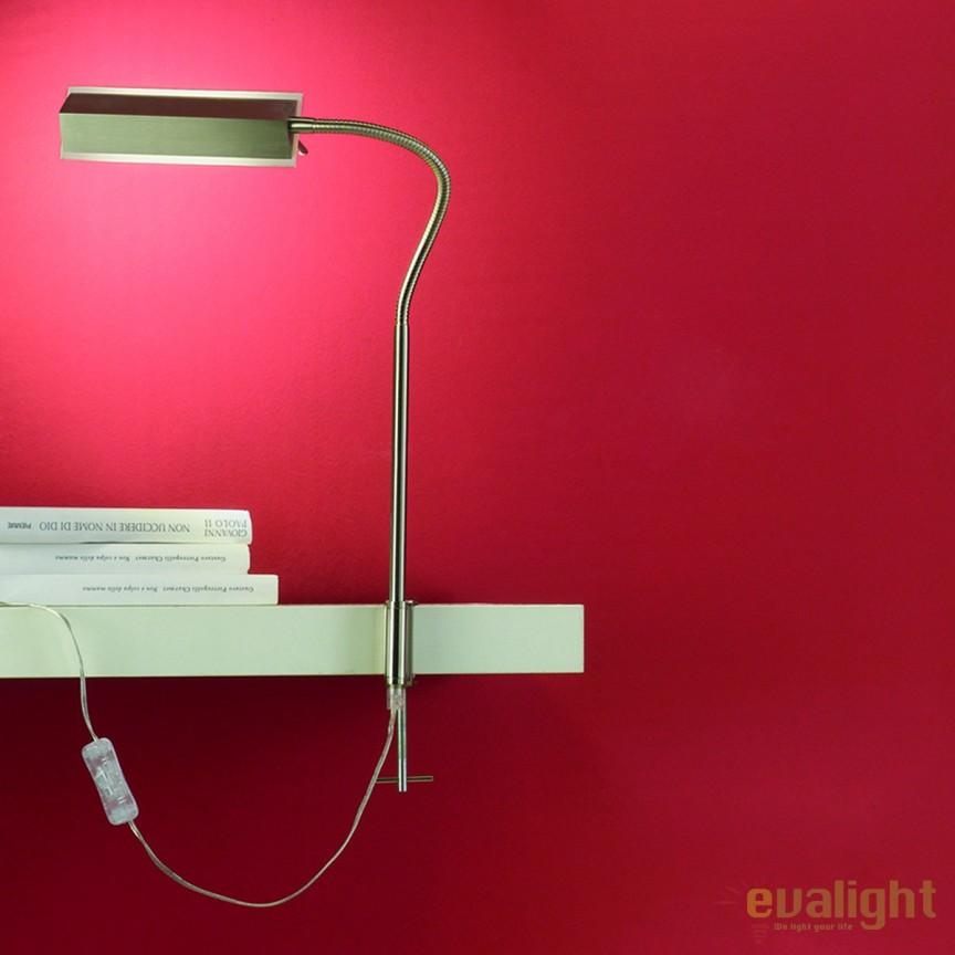 Lampa LED cu clips design modern Haldo LA 4-1129/1 satin OR, Veioze LED, Lampadare LED, Corpuri de iluminat, lustre, aplice, veioze, lampadare, plafoniere. Mobilier si decoratiuni, oglinzi, scaune, fotolii. Oferte speciale iluminat interior si exterior. Livram in toata tara.  a