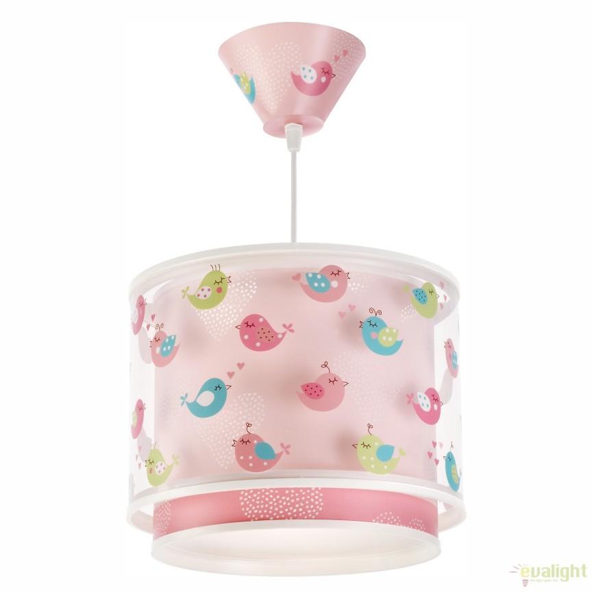 Lustra camera copii roz cu pasari imprimate, Birds 60292 DB, PROMOTII, Corpuri de iluminat, lustre, aplice, veioze, lampadare, plafoniere. Mobilier si decoratiuni, oglinzi, scaune, fotolii. Oferte speciale iluminat interior si exterior. Livram in toata tara.  a