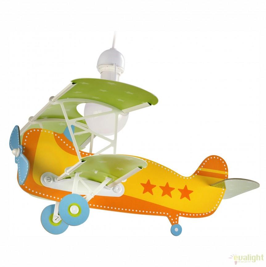 Lustra camera copii de dimensiuni mari in forma de avion, Baby Planes portocaliu 54012 DB, PROMOTII, Corpuri de iluminat, lustre, aplice, veioze, lampadare, plafoniere. Mobilier si decoratiuni, oglinzi, scaune, fotolii. Oferte speciale iluminat interior si exterior. Livram in toata tara.  a