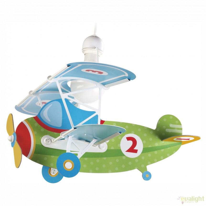 Lustra camera copii de dimensiuni mari in forma de avion, Baby Planes verde 54022 DB, PROMOTII, Corpuri de iluminat, lustre, aplice, veioze, lampadare, plafoniere. Mobilier si decoratiuni, oglinzi, scaune, fotolii. Oferte speciale iluminat interior si exterior. Livram in toata tara.  a