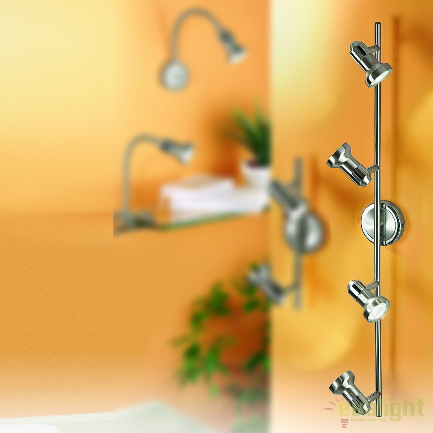 Aplica / Plafoniera cu 4 spoturi directionabile Seba Str 10-390/4 satin OR, Spoturi - iluminat - cu 4 spoturi, Corpuri de iluminat, lustre, aplice, veioze, lampadare, plafoniere. Mobilier si decoratiuni, oglinzi, scaune, fotolii. Oferte speciale iluminat interior si exterior. Livram in toata tara.  a