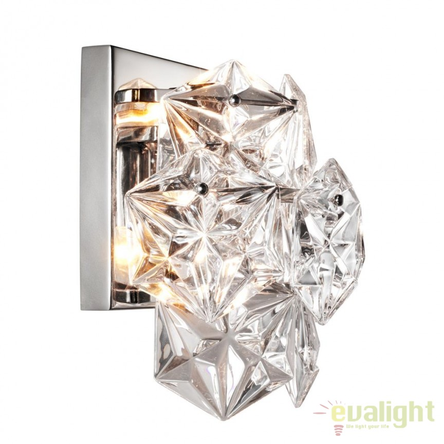 Aplica design LUX Hermitage nickel/ sticla clara 110057 HZ, Aplice de perete moderne, Corpuri de iluminat, lustre, aplice, veioze, lampadare, plafoniere. Mobilier si decoratiuni, oglinzi, scaune, fotolii. Oferte speciale iluminat interior si exterior. Livram in toata tara.  a