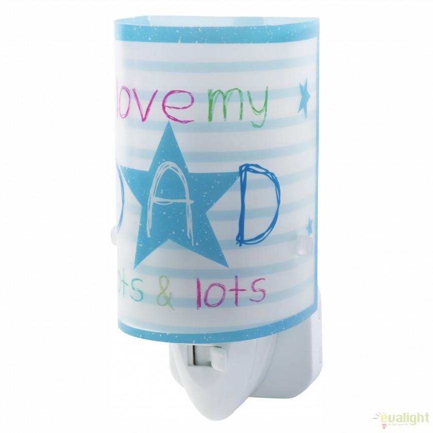 Lampa de veghe camera copii Mum & Dad albastru 92812 DB, Lustre - Iluminat pentru camera Copii, Corpuri de iluminat, lustre, aplice, veioze, lampadare, plafoniere. Mobilier si decoratiuni, oglinzi, scaune, fotolii. Oferte speciale iluminat interior si exterior. Livram in toata tara.  a