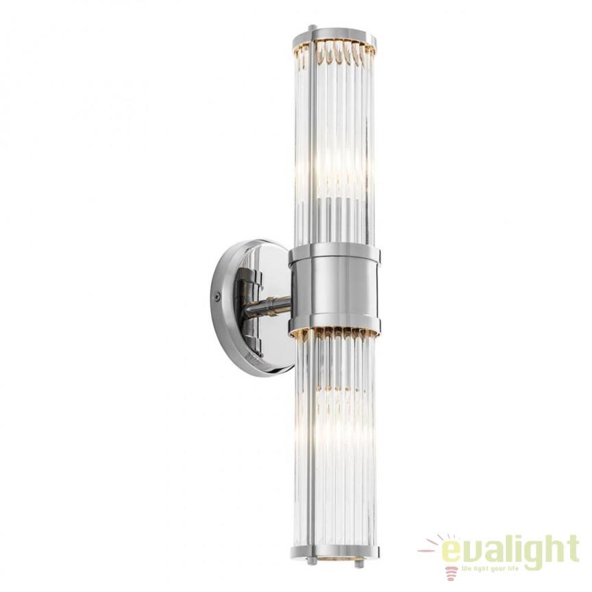 Aplica din metal design LUX Claridges Double nickel 111018 HZ, Aplice de perete moderne, Corpuri de iluminat, lustre, aplice, veioze, lampadare, plafoniere. Mobilier si decoratiuni, oglinzi, scaune, fotolii. Oferte speciale iluminat interior si exterior. Livram in toata tara.  a