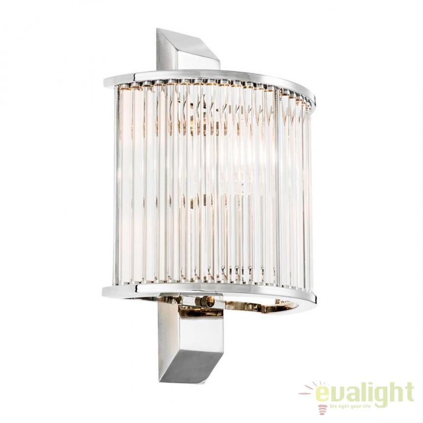 Aplica design LUX Oakley nickel/ transparent, Aplice de perete moderne, Corpuri de iluminat, lustre, aplice, veioze, lampadare, plafoniere. Mobilier si decoratiuni, oglinzi, scaune, fotolii. Oferte speciale iluminat interior si exterior. Livram in toata tara.  a