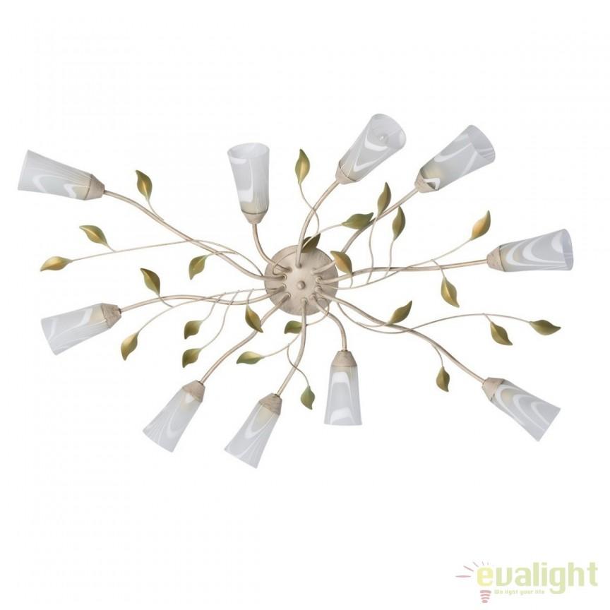 Lustra aplicata cu 10 brate Flora 242015510 MW, Lustre aplicate, Plafoniere clasice, Corpuri de iluminat, lustre, aplice, veioze, lampadare, plafoniere. Mobilier si decoratiuni, oglinzi, scaune, fotolii. Oferte speciale iluminat interior si exterior. Livram in toata tara.  a