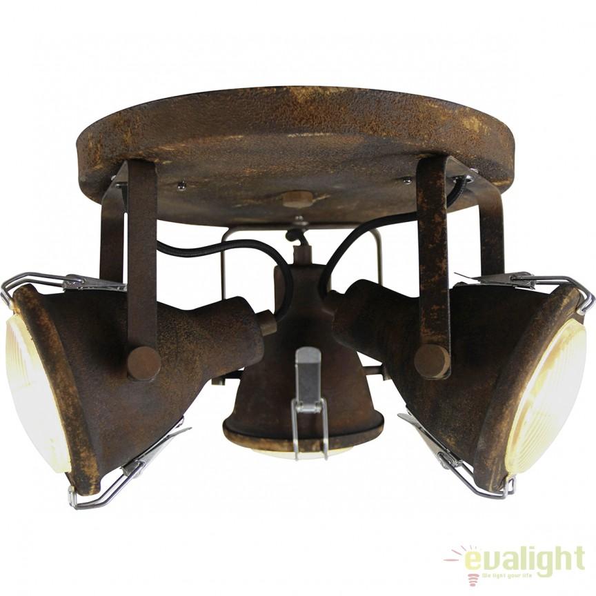Plafoniera cu 3 spoturi GU10 LED, design industrial Bentli negru ruginit 26834/60 BL, Plafoniere LED, Spoturi LED, Corpuri de iluminat, lustre, aplice, veioze, lampadare, plafoniere. Mobilier si decoratiuni, oglinzi, scaune, fotolii. Oferte speciale iluminat interior si exterior. Livram in toata tara.  a