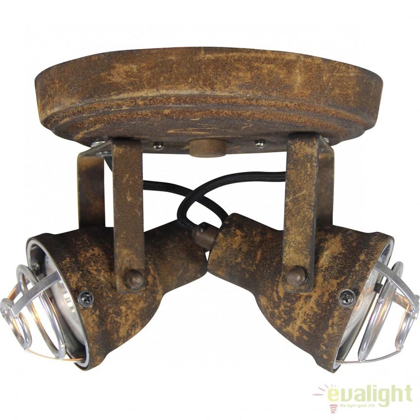 Plafoniera cu 2 spoturi GU10 LED, design industrial Bente negru ruginit 26324/60 BL, Plafoniere LED, Spoturi LED, Corpuri de iluminat, lustre, aplice, veioze, lampadare, plafoniere. Mobilier si decoratiuni, oglinzi, scaune, fotolii. Oferte speciale iluminat interior si exterior. Livram in toata tara.  a