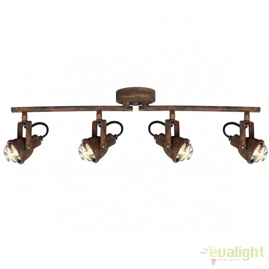 Plafoniera cu 4 spoturi GU10 LED, design industrial Bente negru ruginit 26332/60 BL, Plafoniere LED, Spoturi LED, Corpuri de iluminat, lustre, aplice, veioze, lampadare, plafoniere. Mobilier si decoratiuni, oglinzi, scaune, fotolii. Oferte speciale iluminat interior si exterior. Livram in toata tara.  a