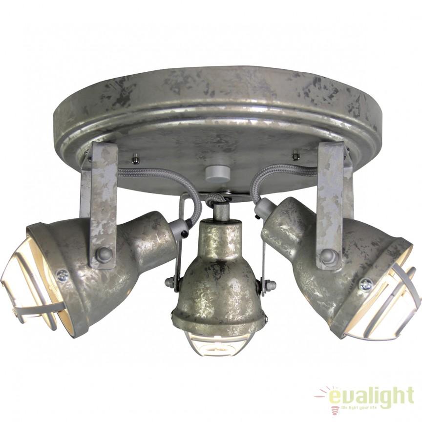 Plafoniera design industrial, GU10 LED Bente 3 galvanizat 26334/43 BL, Plafoniere LED, Spoturi LED, Corpuri de iluminat, lustre, aplice, veioze, lampadare, plafoniere. Mobilier si decoratiuni, oglinzi, scaune, fotolii. Oferte speciale iluminat interior si exterior. Livram in toata tara.  a