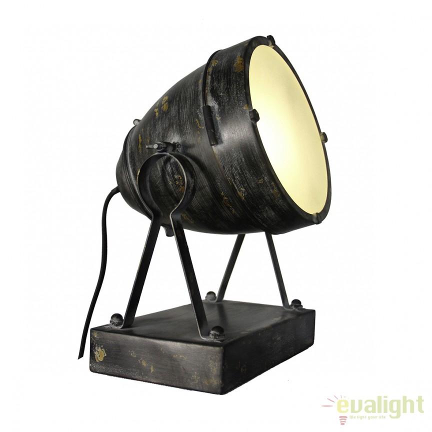 Veioza design industrial FENNA negru 93685/06 BL, Veioze, Corpuri de iluminat, lustre, aplice, veioze, lampadare, plafoniere. Mobilier si decoratiuni, oglinzi, scaune, fotolii. Oferte speciale iluminat interior si exterior. Livram in toata tara.  a