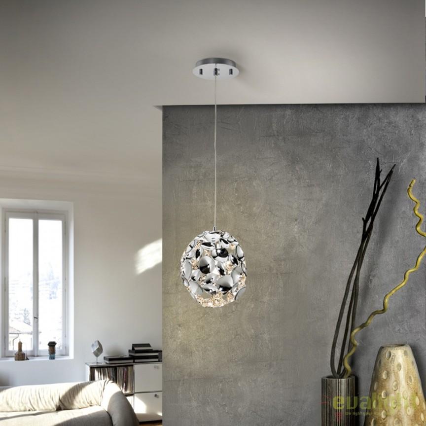 Pendul design elegant diam.18cm Narisa crom SV-266028, Promotii si Reduceri⭐ Oferte ✅Corpuri de iluminat ✅Lustre ✅Mobila ✅Decoratiuni de interior si exterior.⭕Pret redus online➜Lichidari de stoc❗ Magazin ➽ www.evalight.ro. a