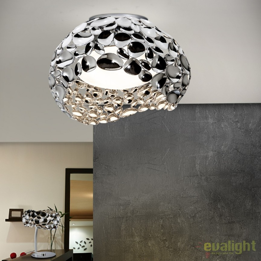 Plafoniera LED design modern diam.46cm Narisa crom SV-266866, Plafoniere moderne, Corpuri de iluminat, lustre, aplice, veioze, lampadare, plafoniere. Mobilier si decoratiuni, oglinzi, scaune, fotolii. Oferte speciale iluminat interior si exterior. Livram in toata tara.  a
