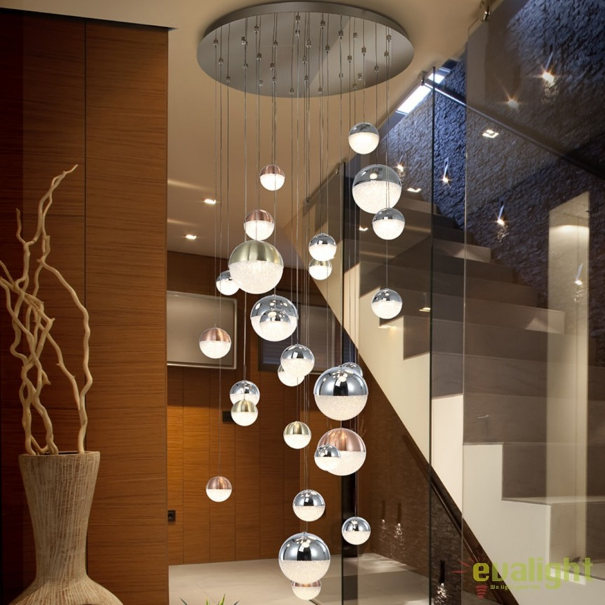 Lustra LED XXL design modern cu 27 pendule Sphere SV-793960, ILUMINAT INTERIOR LED , Corpuri de iluminat, lustre, aplice, veioze, lampadare, plafoniere. Mobilier si decoratiuni, oglinzi, scaune, fotolii. Oferte speciale iluminat interior si exterior. Livram in toata tara.  a