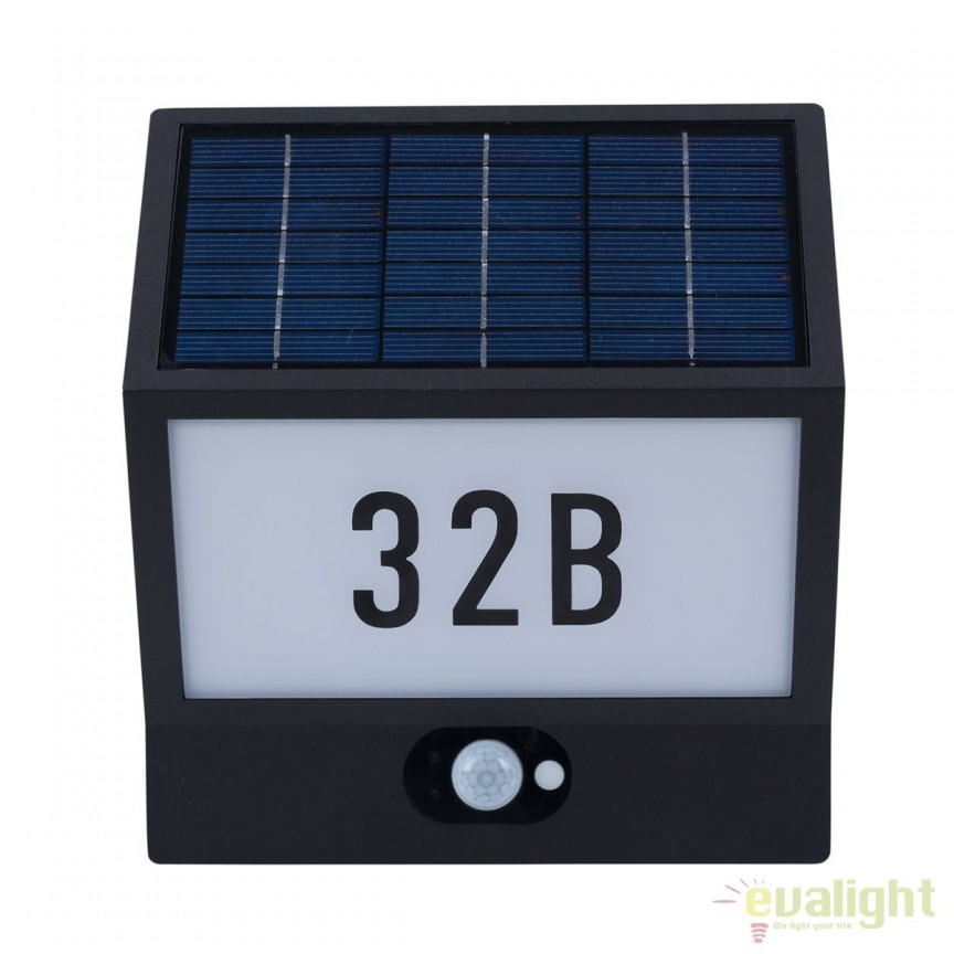 Aplica LED solara cu numar casa cu senzor zi / noapte IP54 ANDREA 37150 HT, Iluminat solare si decorative, Corpuri de iluminat, lustre, aplice, veioze, lampadare, plafoniere. Mobilier si decoratiuni, oglinzi, scaune, fotolii. Oferte speciale iluminat interior si exterior. Livram in toata tara.  a
