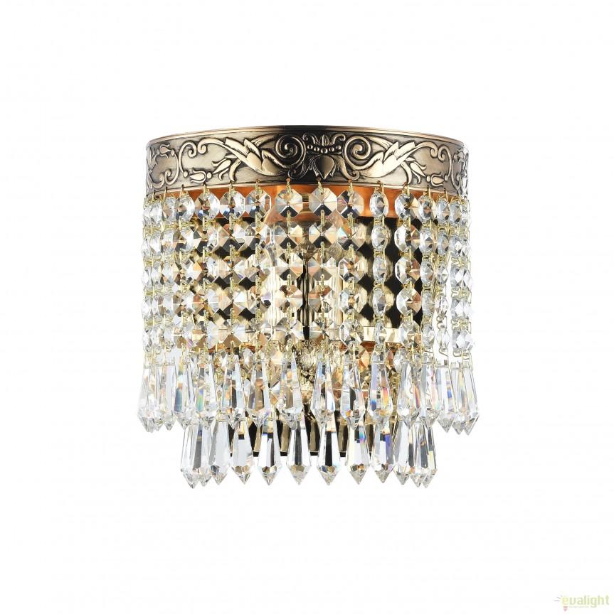 Aplica de perete cristal design elegant Palace auriu MYDIA890-WL-01-G, Aplice de perete clasice, Corpuri de iluminat, lustre, aplice, veioze, lampadare, plafoniere. Mobilier si decoratiuni, oglinzi, scaune, fotolii. Oferte speciale iluminat interior si exterior. Livram in toata tara.  a