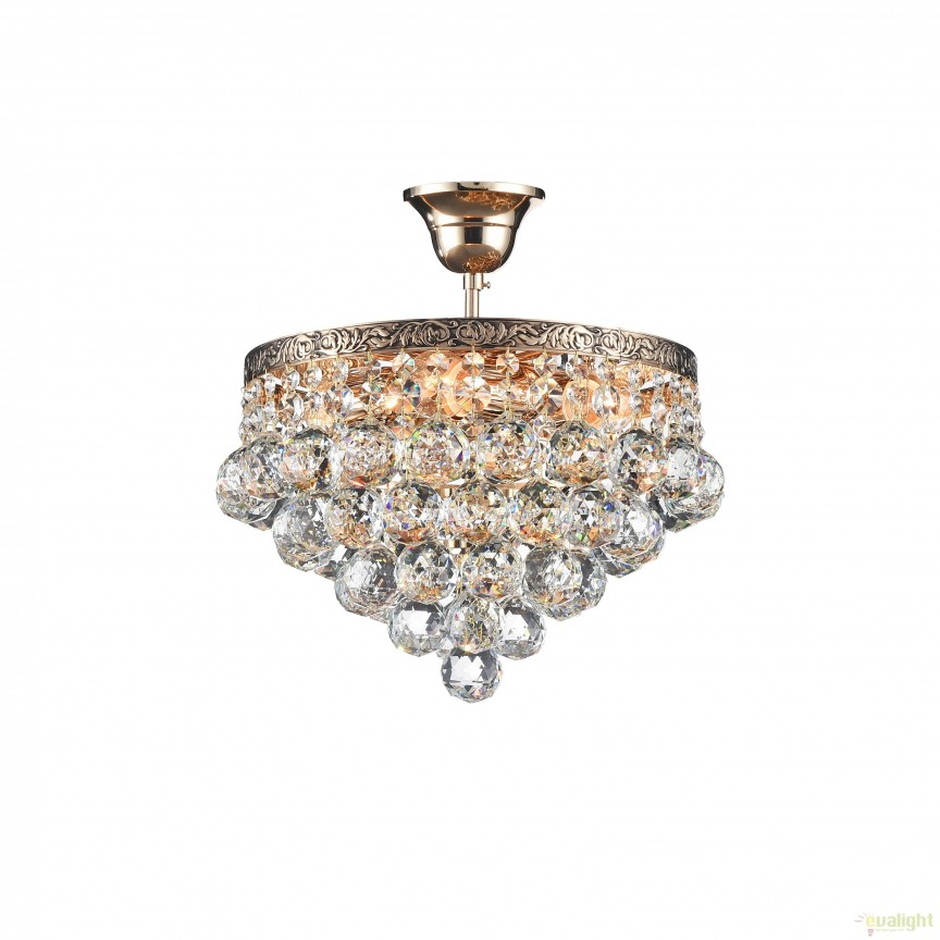 Lustra cristal design elegant diam.30cm Gala auriu MYDIA783-CL-04-G, PROMOTII, Corpuri de iluminat, lustre, aplice, veioze, lampadare, plafoniere. Mobilier si decoratiuni, oglinzi, scaune, fotolii. Oferte speciale iluminat interior si exterior. Livram in toata tara.  a