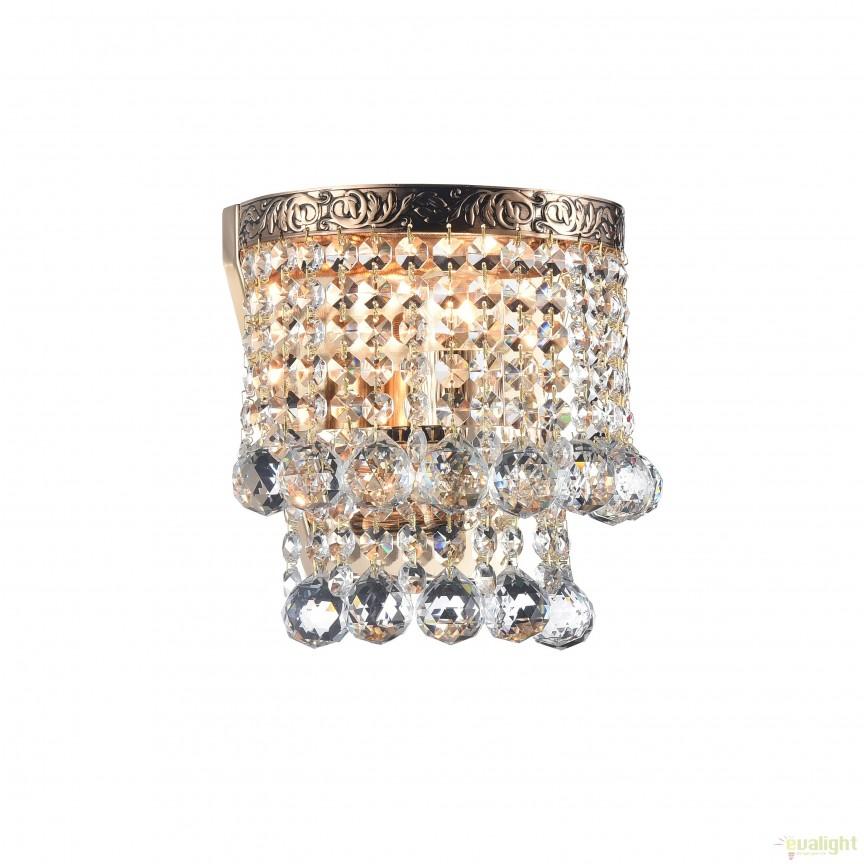 Aplica de perete cristal design elegant Gala auriu MYDIA783-WL-01-G, Aplice de perete clasice, Corpuri de iluminat, lustre, aplice, veioze, lampadare, plafoniere. Mobilier si decoratiuni, oglinzi, scaune, fotolii. Oferte speciale iluminat interior si exterior. Livram in toata tara.  a