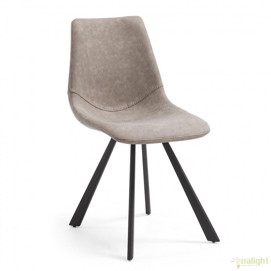 Scaun cu picioare metalice si tapiterie din piele sintetica, ANDI taupe CC0252UE85 JG, Mobila si Decoratiuni,  a