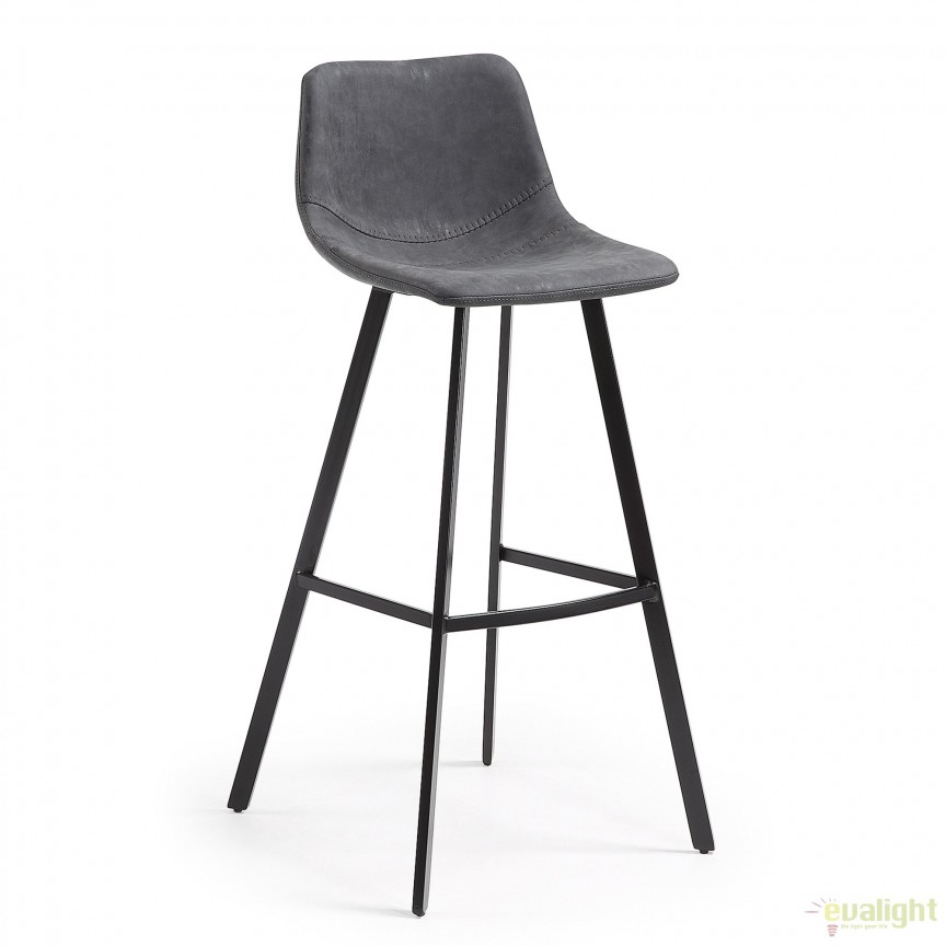 Scaun de bar cu picioare metalice si tapiterie din piele sintetica, ANDI grafit CC0254UE02 JG, Mobila si Decoratiuni,  a