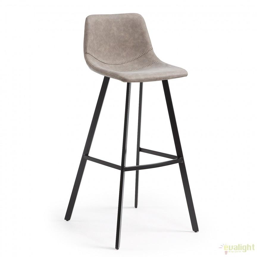 Scaun cu picioare metalice si tapiterie din piele sintetica, ANDI taupe CC0254UE85 JG, Mobila si Decoratiuni,  a