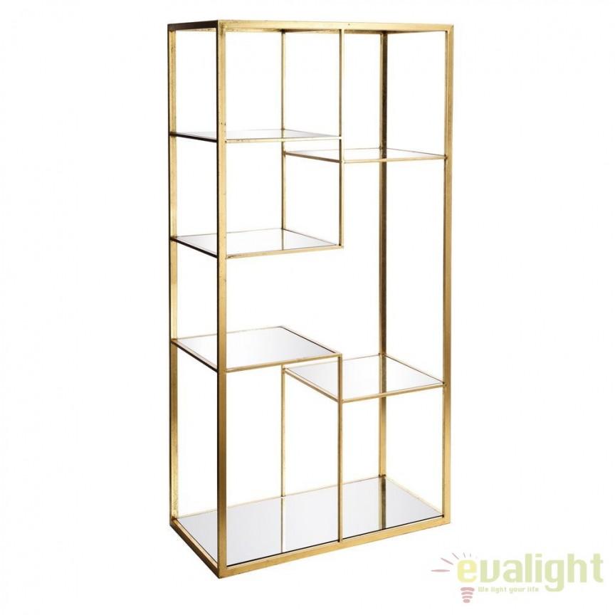 Raft elegant din metal auriu si oglinda, Antonetta SX-92839, Vitrine - Rafturi, Corpuri de iluminat, lustre, aplice, veioze, lampadare, plafoniere. Mobilier si decoratiuni, oglinzi, scaune, fotolii. Oferte speciale iluminat interior si exterior. Livram in toata tara.  a