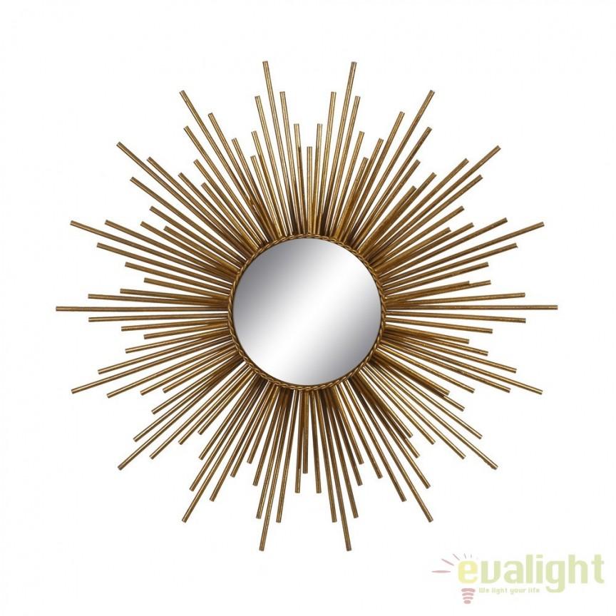 Oglinda decorativa din metal auriu Sindy 81cm SX-102221, Corpuri de iluminat, lustre, aplice, veioze, lampadare, plafoniere. Mobilier si decoratiuni, oglinzi, scaune, fotolii. Oferte speciale iluminat interior si exterior. Livram in toata tara.