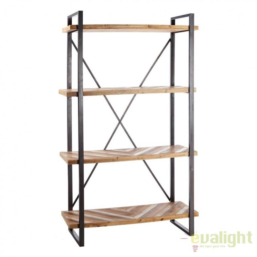 Raft design industrial din fier su lemn de brad, Habeto SX-91001, Vitrine - Rafturi, Corpuri de iluminat, lustre, aplice, veioze, lampadare, plafoniere. Mobilier si decoratiuni, oglinzi, scaune, fotolii. Oferte speciale iluminat interior si exterior. Livram in toata tara.  a