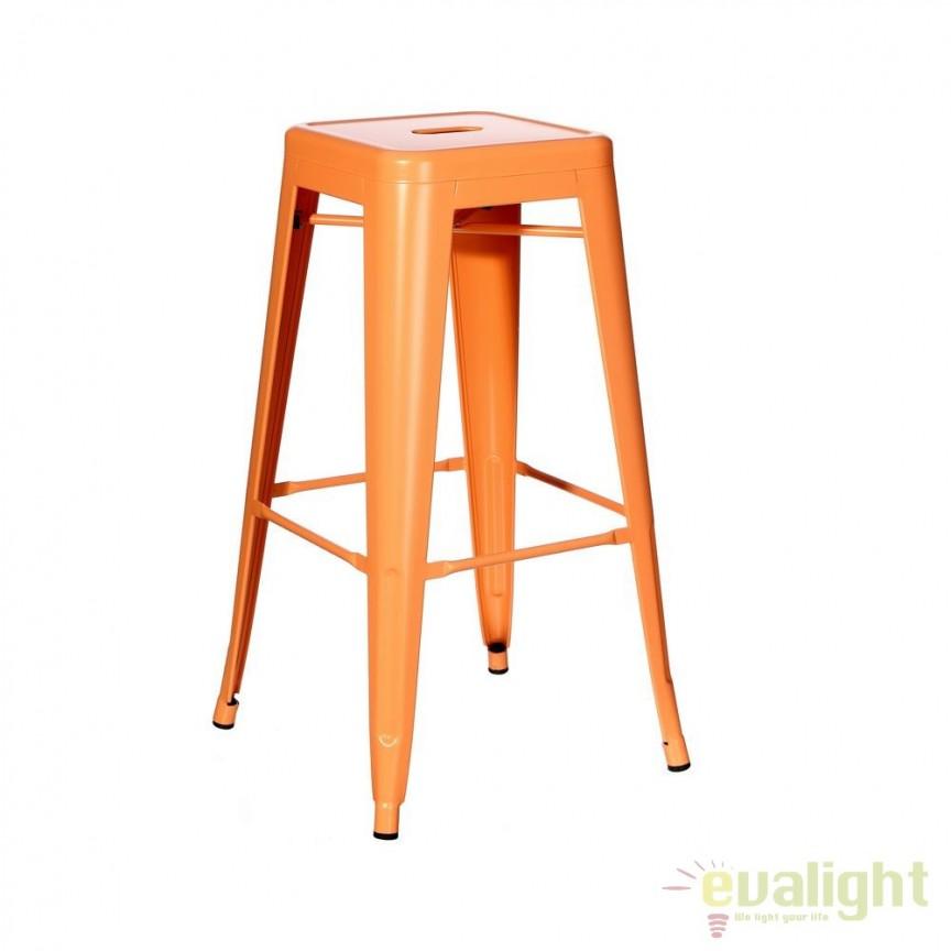 Set de 4 scaune bar design industrial DALLAS H61,2cm orange SX-91170, Scaune de bar, Corpuri de iluminat, lustre, aplice, veioze, lampadare, plafoniere. Mobilier si decoratiuni, oglinzi, scaune, fotolii. Oferte speciale iluminat interior si exterior. Livram in toata tara.  a