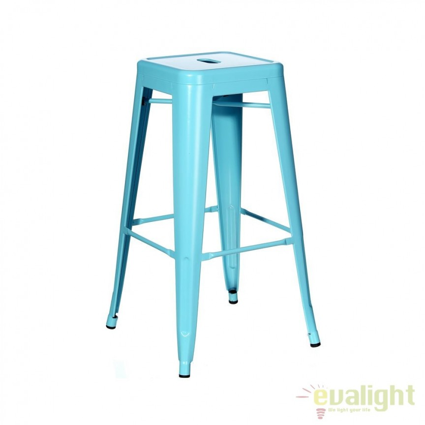 Set de 4 scaune bar design industrial DALLAS H61,2cm blue SX-91172, Scaune de bar, Corpuri de iluminat, lustre, aplice, veioze, lampadare, plafoniere. Mobilier si decoratiuni, oglinzi, scaune, fotolii. Oferte speciale iluminat interior si exterior. Livram in toata tara.  a