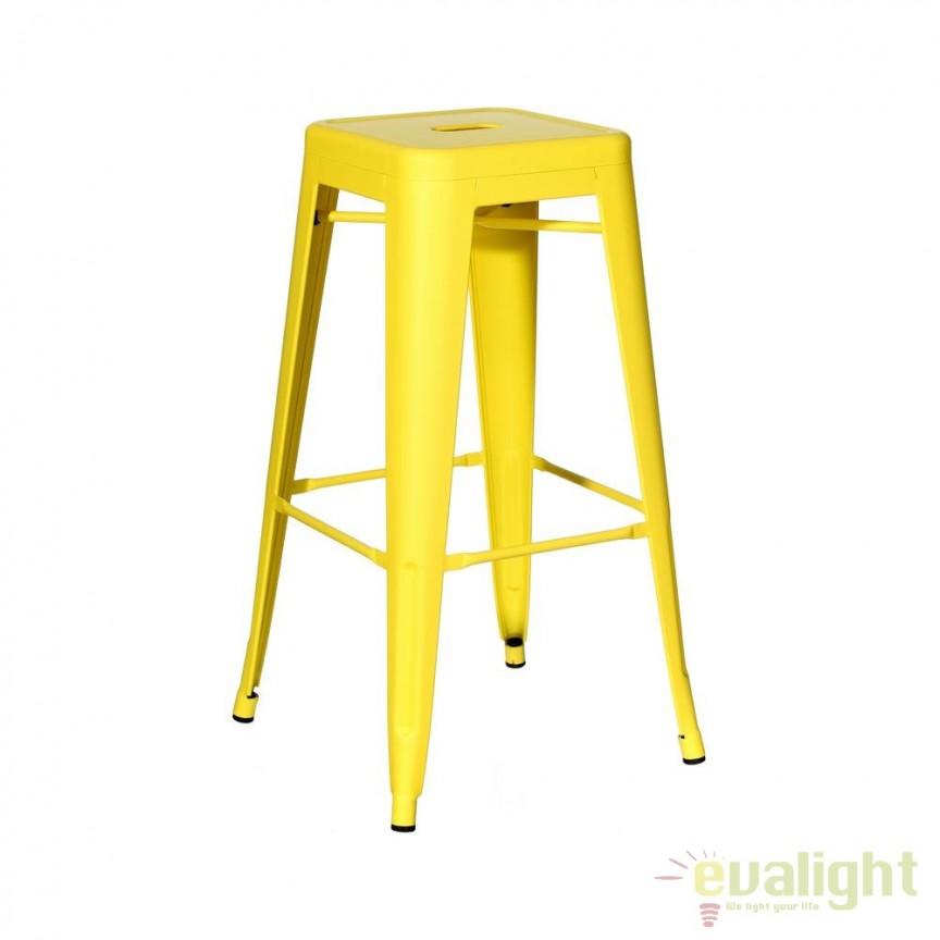 Set de 4 scaune bar design industrial DALLAS H61,2cm galben SX-91173, Scaune de bar, Corpuri de iluminat, lustre, aplice, veioze, lampadare, plafoniere. Mobilier si decoratiuni, oglinzi, scaune, fotolii. Oferte speciale iluminat interior si exterior. Livram in toata tara.  a
