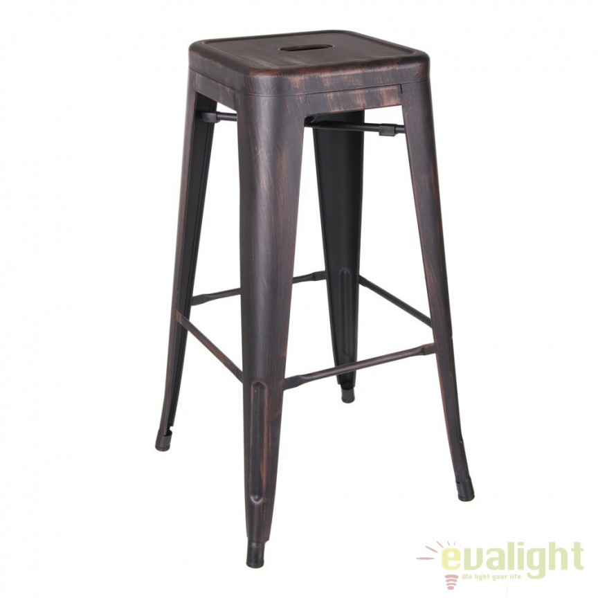 Set de 2 scaune bar design industrial DALLAS H76,5cm BLACK-GOLD SX-52496, Scaune de bar, Corpuri de iluminat, lustre, aplice, veioze, lampadare, plafoniere. Mobilier si decoratiuni, oglinzi, scaune, fotolii. Oferte speciale iluminat interior si exterior. Livram in toata tara.  a