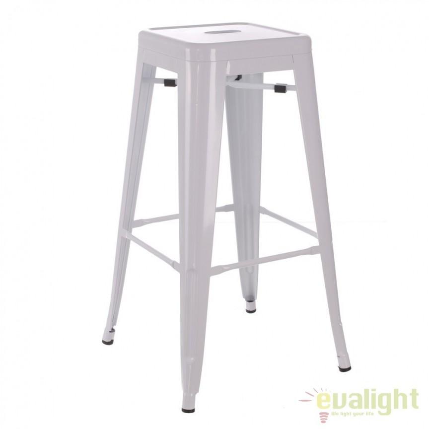 Set de 2 scaune bar design industrial DALLAS H76,5cm alb SX-52497, Scaune de bar, Corpuri de iluminat, lustre, aplice, veioze, lampadare, plafoniere. Mobilier si decoratiuni, oglinzi, scaune, fotolii. Oferte speciale iluminat interior si exterior. Livram in toata tara.  a