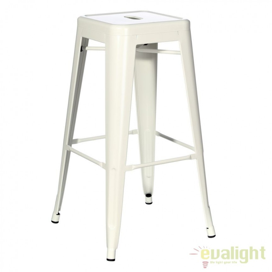 Set de 2 scaune bar design industrial DALLAS H76,5cm IVORY SX-79205, Scaune de bar, Corpuri de iluminat, lustre, aplice, veioze, lampadare, plafoniere. Mobilier si decoratiuni, oglinzi, scaune, fotolii. Oferte speciale iluminat interior si exterior. Livram in toata tara.  a