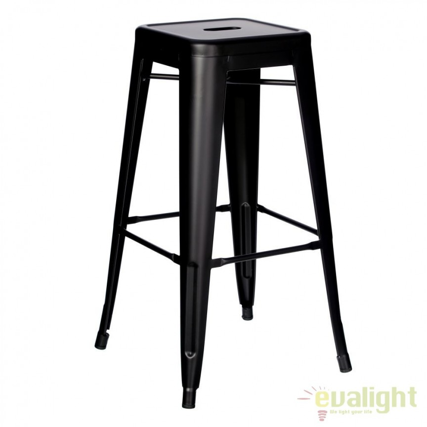 Set de 2 scaune bar design industrial DALLAS H76,5cm negru SX-79206, Scaune de bar, Corpuri de iluminat, lustre, aplice, veioze, lampadare, plafoniere. Mobilier si decoratiuni, oglinzi, scaune, fotolii. Oferte speciale iluminat interior si exterior. Livram in toata tara.  a