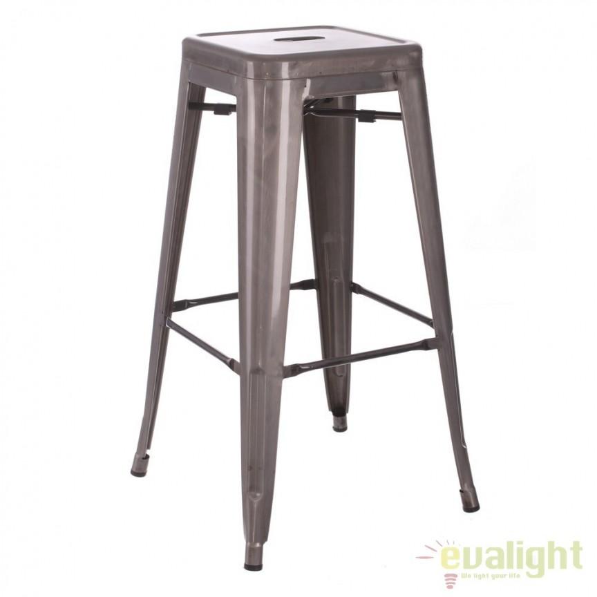 Set de 2 scaune bar design industrial DALLAS H76,5cm argintiu SX-52498, Scaune de bar, Corpuri de iluminat, lustre, aplice, veioze, lampadare, plafoniere. Mobilier si decoratiuni, oglinzi, scaune, fotolii. Oferte speciale iluminat interior si exterior. Livram in toata tara.  a