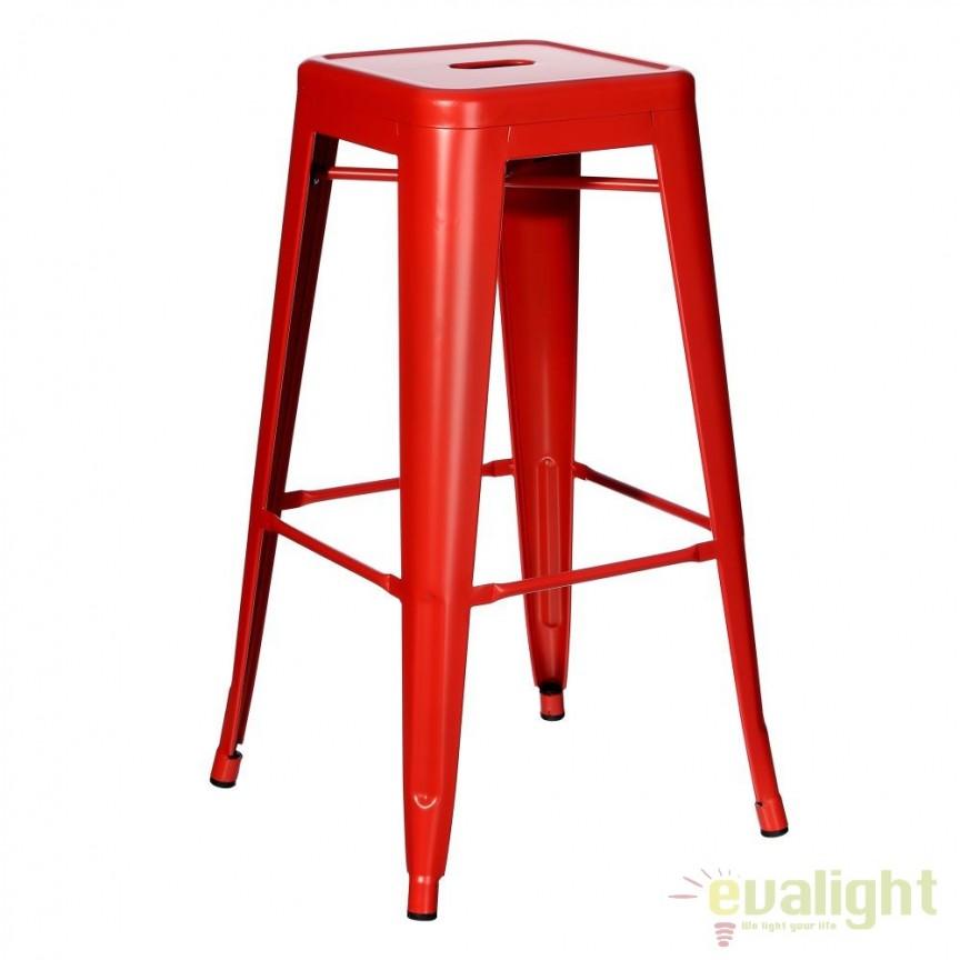 Set de 2 scaune bar design industrial DALLAS H76,5cm rosu SX-79207, Scaune de bar, Corpuri de iluminat, lustre, aplice, veioze, lampadare, plafoniere. Mobilier si decoratiuni, oglinzi, scaune, fotolii. Oferte speciale iluminat interior si exterior. Livram in toata tara.  a