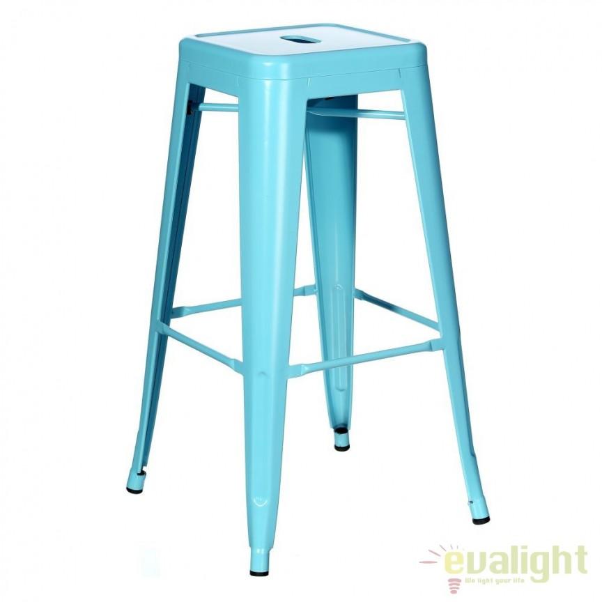 Set de 2 scaune bar design industrial DALLAS H76,5cm blue SX-79210, Scaune de bar, Corpuri de iluminat, lustre, aplice, veioze, lampadare, plafoniere. Mobilier si decoratiuni, oglinzi, scaune, fotolii. Oferte speciale iluminat interior si exterior. Livram in toata tara.  a